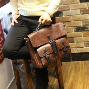 กระเป๋าถือหนังเก่า Poratable สันทนาการระดับความจุหนึ่งถุงกระเป๋าสะพายแฟชั่นผู้ชายสำหรับคนกระเป๋าเอกสาร Crossbody (กาแฟ)