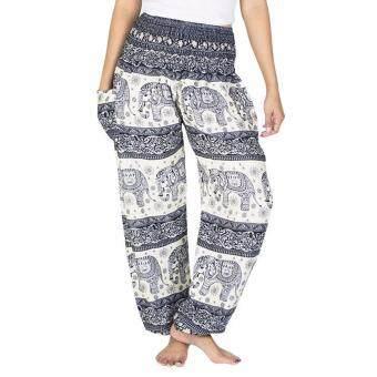 GOOD ACTIVE กางเกงเอวสูง สม๊อค ลายช้าง สำหรับเล่นโยคะ แฟชั่น ออกกำลังกาย (สีขาว-ดำ)