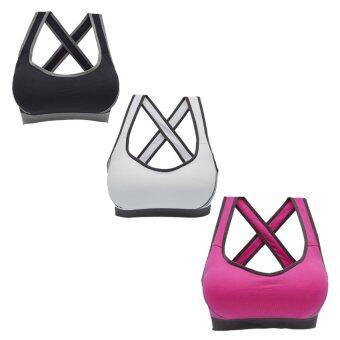 Like ENJOYSHOP Sport bra โปรโมชั่น ลดล้างสต๊อก ชุดชั้นใน สปอร์ตบรา แบบสายไขว้ด้านหลัง ชุดชั้นในสตรี (สีดำ+สีขาว+สีชมพู)