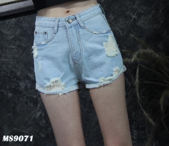 Platinum Fashion กางเกงยีนส์ขาสั้นเอวสูง แต่งขาด รุ่นMS9071