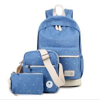 ฺBagVariety ชุดกระเป๋าผ้าแคนวาส 3 ชิ้น สีพื้นลายจุดขาว รุ่น WN622 - สีฟ้า