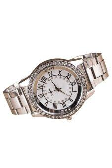 Bluelans เพชรพลอยเทียมสำหรับบุรุษนาฬิกาควอทซ์อัลลอยด์เลขโรมันคล้ายคลึง (เงิน)