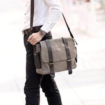 CV13-Khaki กระเป๋าสะพายข้าง ผ้าแคนวาส สีกากี กระเป๋าผู้ชาย