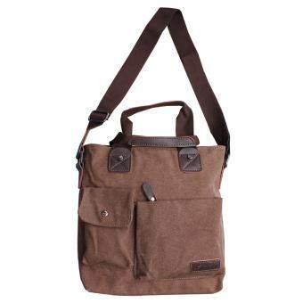 Peimm Modello Casual กระเป๋าสะพายพาดลำตัว กระเป่า Messenger ผ้าแคนวาส Multi Function (สีน้ำตาล)