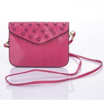 Premium Bag กระเป๋าแฟชั่น กระเป๋าสะพายข้าง รุ่น PB-009 (สีชมพูเข้ม)