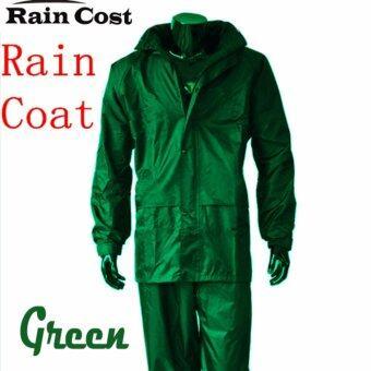 ชุดกันฝน เสื้อกันฝน มีแถบสะท้อนแสง (เสื้อแบบมีฮูท+กางเกง+กระเป๋าใส่) - เขียว