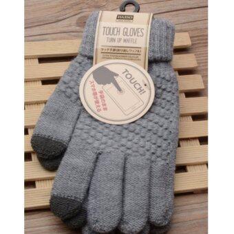 ุถุงมือไหมพรม touch screen สีเทา
