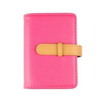 Marino กระเป๋านามบัตร กระเป๋าหนังใส่นามบัตร รุ่น H001 - สีชมพูเข้ม