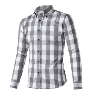 Harga Hot Men Leisure Long Sleeve Shirt Cotton Fashion Trend Professional Business Style - intl