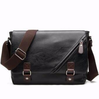 Stmartshop กระเป๋าสะพายข้างหนังใหม่ Messenger Style Bag รุ่น 9848(สีดำ)