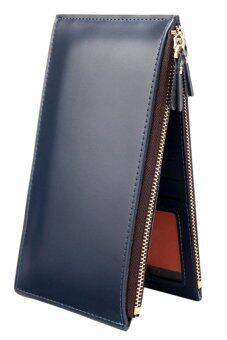Sanwood คนถือบัตรเครดิตหนังเทียมซิปกระเป๋าสตางค์สีน้ำเงิน