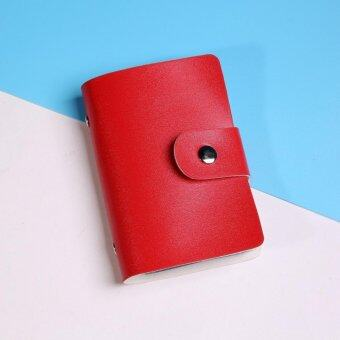 Harga Card sets creative PU business card pack men and women card card bag card holders 24 card position (Red) - intl