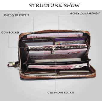 Baellerry ผ้าใบผ้าคลัตช์แบบพกพากระเป๋าสตางค์สำหรับคนแนวตั้ง (สีเทา) (image 3)