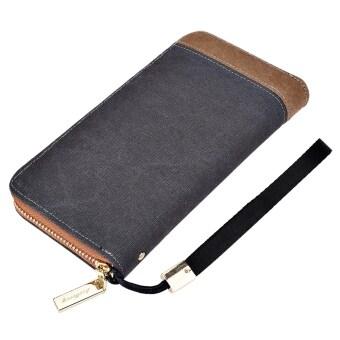 Baellerry ผ้าใบผ้าคลัตช์แบบพกพากระเป๋าสตางค์สำหรับคนแนวตั้ง (สีเทา) (image 1)