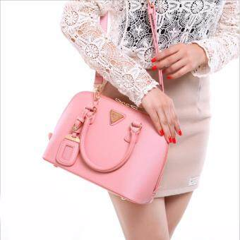 Axixi กระเป๋าแฟชั่นสตรี รุ่น Saffiano & Curve สีชมพู