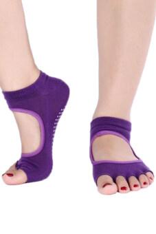 Bluelans โยคะการออกกำลังกายข้อเท้าถุงเท้าผ้าฝ้ายไว้ห้านิ้วครึ่งไม่หลุด 1 คู่ม่วงทึบ