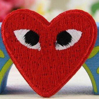 2 x การ์ตูนบนแผ่นเหล็กร้อยหัวใจเย็บติดเสื้อผ้า Appliques ลวดลายสีแดง-ระหว่างประเทศ