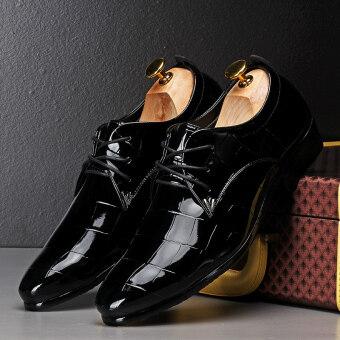 PINSV รองเท้าหนังลำลองชายสุภาพรองเท้าออกซฟอร์ด (สีดำ)