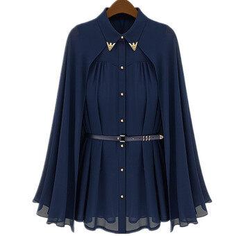 นิวแฟชั่นเสื้อคลุมชีฟองสองชั้นมีเข็มขัดสีน้ำเงิน