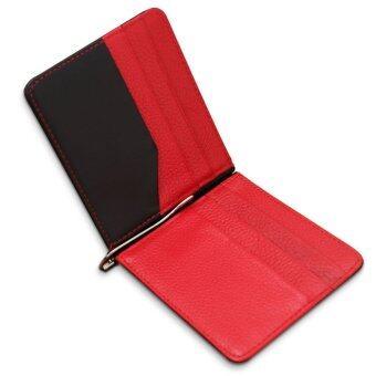 หนังแท้กระเป๋าสตางค์มีเงินน้อยถือบัตรเงินบัตรเครดิตคลิปสีแดง MT260