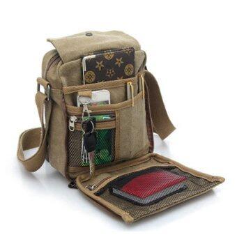Siamcity mall กระเป๋า กระเป๋าสะพาย กระเป๋าสะพายข้าง วินเทจ ผ้าใบ แคนวาส (Canvas) ขนาดเล็กกะทัดรัด สีกากี