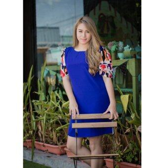 All about Fashionista เดรสสั้น ผ้าหางกระรอก คอกลม แขนตุ๊กตาพิมพ์ลาย สีน้ำเงิน