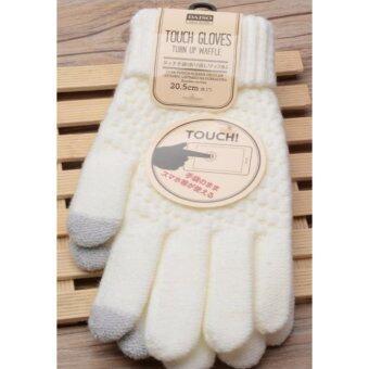 ถุงมือไหมพรม touch screen สีขาว