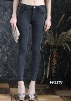 Platinum Fashion กางเกงยีนส์ขายาวเอวสูงปกติ ทรงสกินนี่ รุ่นFF2231