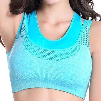 สตรีการออกกำลังกายออกกำลังกายห้องออกกำลังกายโยคะวิ่งยืดเสื้อกีฬาเสื้อชั้นในมีเบาะสีน้ำเงิน s-ระหว่างประเทศ