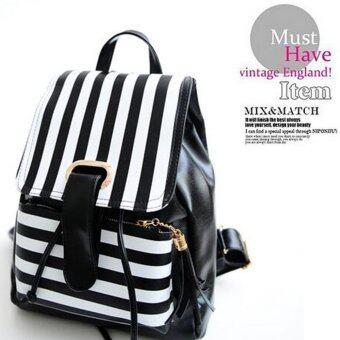 Aline กระเป๋าเป้ สะพายหลังลายทาง สีขาวดำ