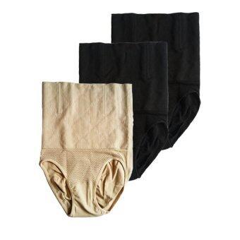 Miracle Bra กางเกงใน กระชับสัดส่วน ลดพุง เก็บหน้าท้อง ยาวถึงขอบบรา (สีเนื้อ1+สีดำ 2) – 3 ตัว