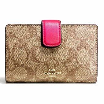 Harga กระเป๋าสตางค์ COACH F54023 MEDIUM CORNER ZIP WALLET IN SIGNATURE (IMDCD)