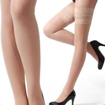 Harga Hang-Qiao Women Lace Top Hold-ups Thigh High Stockings Pantyhose Hosiery Skin Color - Intl