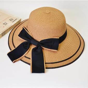 KPshop หมวกแฟชั่น หมวกสาน หมวกใส่ไปทะเล รุ่น LH-007 (สีน้ำตาล)