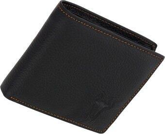 SN Collection กระเป๋าสตางค์หนังแท้ 2 ผับ สำหรับผู้ชายและหญิง (RM047-1) สีดำ
