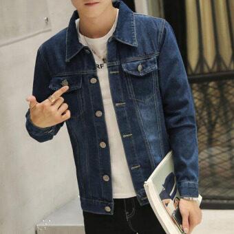 ชายร่างเพรียวคนสไตล์เกาหลีเสื้อแฟชั่นเสื้อแจ็คเก็ตยีนส์