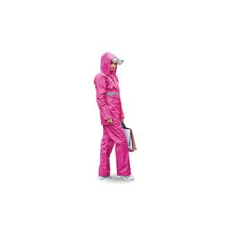 ชุดกันฝน เสื้อ + กางเกง + หมวก และแถบสีสะท้อนแสง - สีชมพู