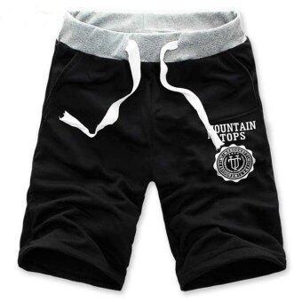 AliZ กางเกงขาสั้นกีฬา cotton ใส่สบาย วัยรุ่น ฟรีไซส์ (ดำ)
