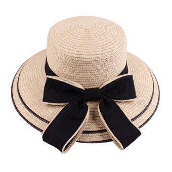 KPshop หมวกแฟชั่น หมวกสาน หมวกใส่ไปทะเล รุ่น LH-006 (สีครีม)