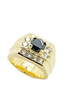 Tfine แหวนพลอยสีนิลดำ ประดับพลอยขาว ชุบทอง ตัวเรือนเงา