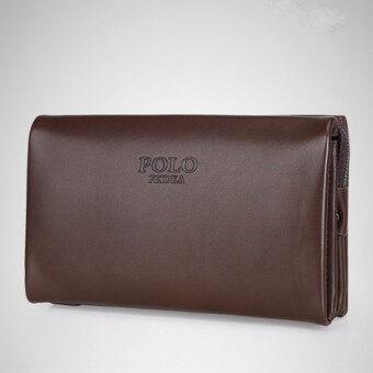 กระเป๋าถือหนังวัวหนุ่มใหญ่มือคลัตช์สบายกระเป๋าสตางค์กระเป๋าธุรกิจความจุเงิน (เล็กขนาด Brownj)
