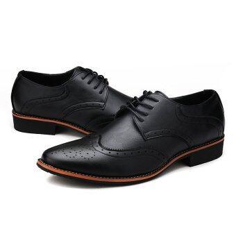 แฟชั่นรองเท้าหนังแกะสลัก LBW รองเท้า (สีดำ)