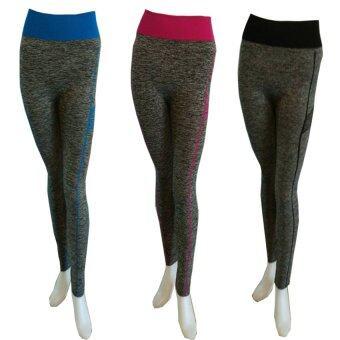 PBx เซ็ทกางเกงโยคะสำหรับออกกำลังกาย 1 เซ็ท 3 ชิ้้้น (สีฟ้า สีชมพู สีดำ)