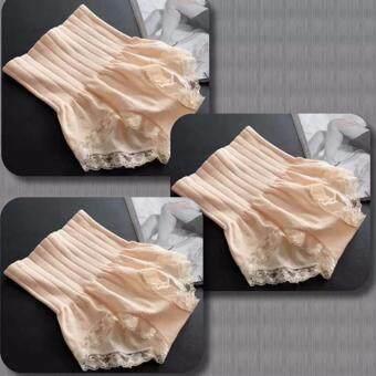 Munafie กางเกงในกระชับสัดส่วน กางเกงในเก็บพุง (สีเบจสี)_(Beige)- 3 ตัว