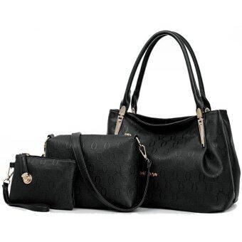Richcoco กระเป๋าแฟชั่นเกาหลี + กระเป๋าถือผู้หญิง + กระเป๋าสะพายข้าง + เซ็ต 3 ใบ (สีดำ)