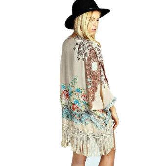 ชีฟองลายดอกไม้สตรี Kimono เสื้อสเวตเตอร์ถักเสื้อแฟชั่นเสื้อตัวยาวมีพู่ 2558 แขนเสื้อสตรีเสื้อ L781-ระหว่างประเทศ