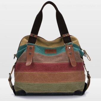 good Big Size: 37x36x15cm กระเป๋าแฟชั่น กระเป๋า Big Canvas bag Rainbow Fashion Women Bag