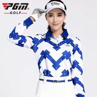 EXCEED GOLF SHIRT WHITE-BLUE COLOUR เสื้อกอล์ฟสุภาพสตรีแขนยาว PGM สีขาวน้ำเงิน (YF035)