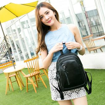 Little Bag กระเป๋าเป้สะพายหลัง กระเป๋าเป้เกาหลี กระเป๋าสะพายหลังผู้หญิง backpack women รุ่น LP-077 (สีดำ)