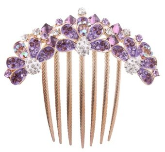 Harga Leegoal Lovely Vintage Headpieces Full Rhinestone Flower Hair Combs Clips,Purple And Gold - intl